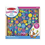 "Melissa & Doug Bead Bouquet Deluxe Wooden Bead Set, Arts & Crafts, Handy Wooden Tray, 220 Beads and 8 Cords, 9.5"" H x 13"" W x 1"" L"