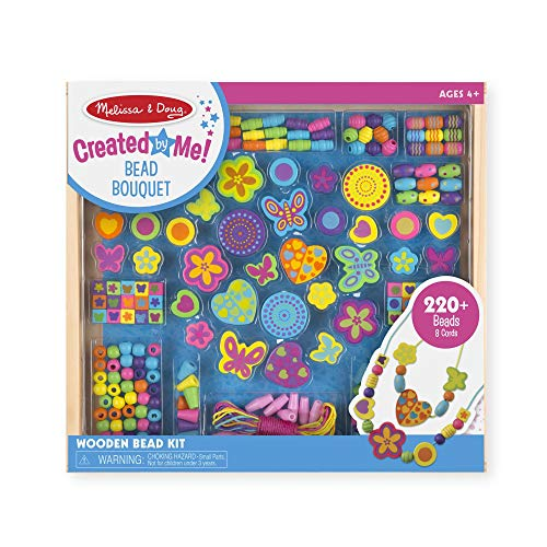 Melissa & Doug Bead Bouquet Deluxe Wooden Bead Set, Arts & Crafts, Handy Wooden Tray, 220 Beads and 8 Cords, 9.5