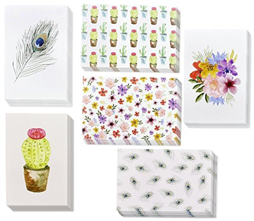 48 Pack All Occasion Assorted Blank Note Cards Greeting Cards Bulk Box Set - 6 Watercolor Designs, Cactus Cacti Floral Flower Peacock Feathers - Notecards with Envelopes Included 4 x 6 Inches