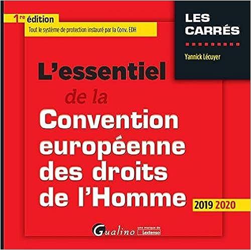 Book's Cover of L'essentiel de la convention européenne des droits de l'Homme (Français) Broché – 9 avril 2019