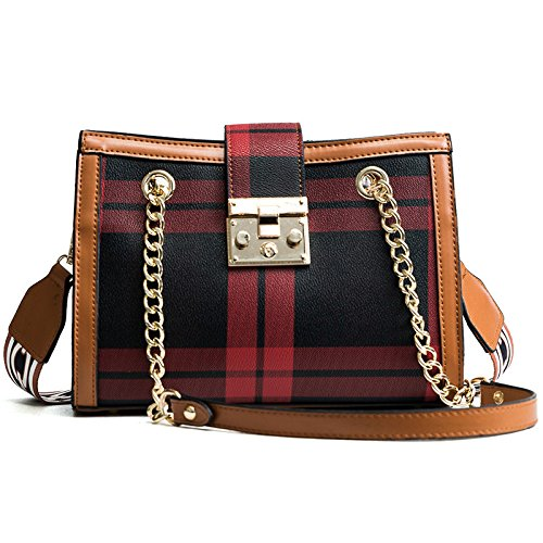 Dhfud Woman Shoulder Bag Messenger Bag Fashion Trend Handbag Shoulder Width Brownredgrid