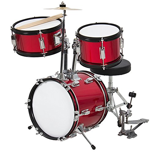 Best Choice Products 3-Piece Kids Beginner Drum Set w/Sticks, Chair, and Drum Pedal – Red