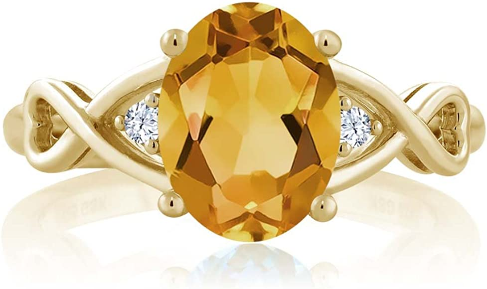 Gem Stone King Yellow Citrine and White Topaz 18K Yellow Gold Plated Silver Womens Ring 1.55 Ctw Oval Cut, Available 5,6,7,8,9