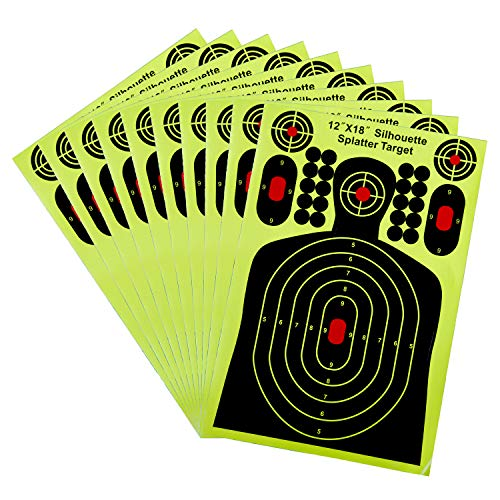 GUGULUZA Shooting Splatter Targets Self Adhesive Reactive Sticker for Gun Rifle Pistol Airsoft Shooting (12 inch x 18 inch - 10 Pack) ()