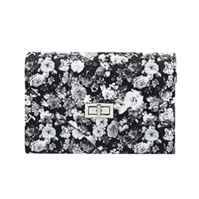 Elegant PU Leather Floral Turnlock Flap Clutch Bag Handbag, Black