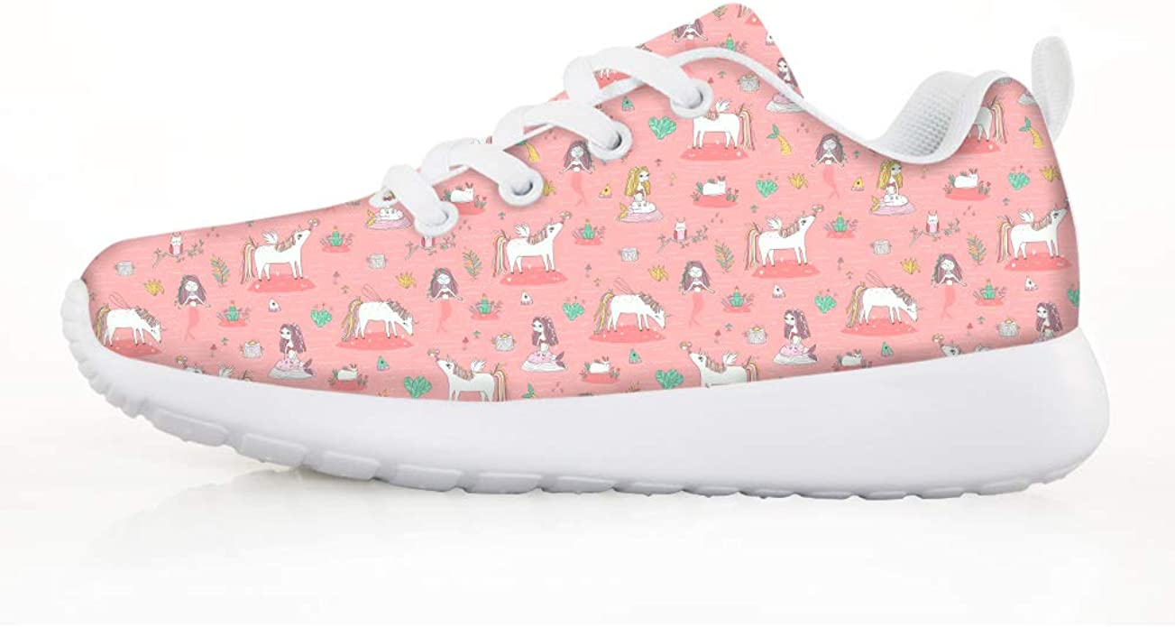 Boys Girls Casual Lace-up Sneakers Running Shoes Lion Unicorn Keep Dreaming
