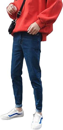 YiTongジーンズ メンズ ブルー デニムズボン スリム 無地 秋冬 オシャレ ファッション 通勤 通学 薄手 黒 紳士 シンプル カジュアル 快適 着痩せ