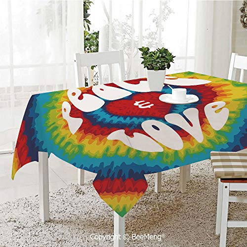 BeeMeng Dining Kitchen Polyester dust-Proof Table Cover,70s Party Decorations,Peace and Love Groovy Tie Dye Heart Shaped Abstract Hippie Rainbow Decorative,Multicolor,Rectangular,59 x 59 inches