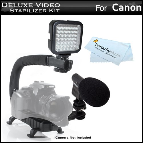 (Deluxe LED Video Light + Mini Zoom Shotgun Microphone w/Mount + Video Stabilizer Kit For Canon Digital EOS Rebel EOS-M, T5i T4i T3i, 1D C, 60D 70D 6D, 1D X, 5D Mark 2, 5D Mark 3, 7D, 7D Mark II DSLR)