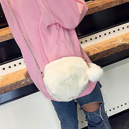à Merssavo Décoration Pour Bandoulière Sac En Chaîne De En Sac blanc Fourrure Embrayage Sac Boule Mignon Main à Mini En Peluche Main Femme Avec à Bandoulière à Sac P0xrPqwBv