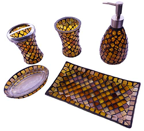 LuLu Decor, Mosaic Amber Bathroom Accesories 5 Piece Set (LP600) by LuLu