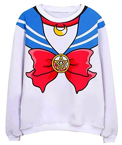 Anime Cosplay Costumes Sailor Moon (MIUNIKO Sailor Moon Harajuku Sweater Print Top Cute Japan Anime Cosplay Costume (Blue))