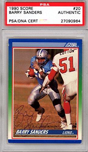 Barry Sanders Autographed 1990 Score Card #20 Detroit Lions PSA/DNA (1990 Score Autographed Card)