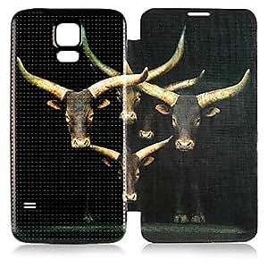 Cartoon Deer Pattern PU Leather Full Body Case for Galaxy S5 I9600