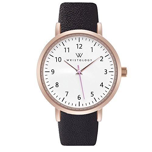 WRISTOLOGY Olivia Womens Numbers Rose Gold Boyfriend Watch Black Leather Band (Black Band Numbers Leather)