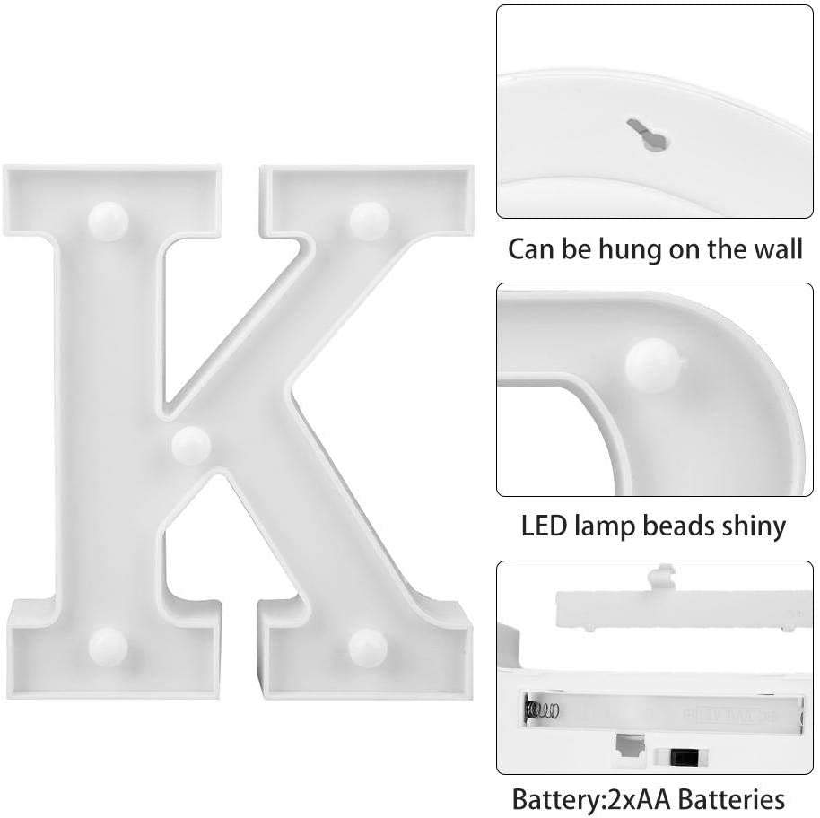 Z 3D 26 Letter Alphabet LED Marquee Sign Light Indoor Wall Hang Night Lamp