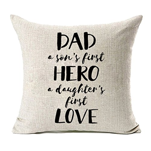 MFGNEH Dad A Son's First Hero A Daughter's First Love Funny Quote Cotton Linen Pillow Covers, Throw Pillow Case Cushion Cover 18 x 18 Inches,Dad Gifts