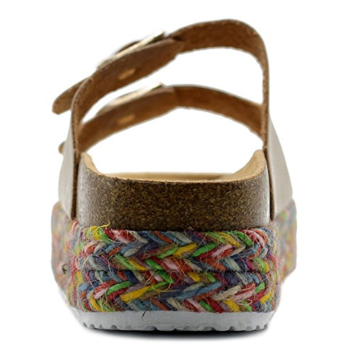 Platform On Cork Boho Ollio Slip Women's Strap Shoe Two Sandals Espadrilles Gold qUBtx0tpw