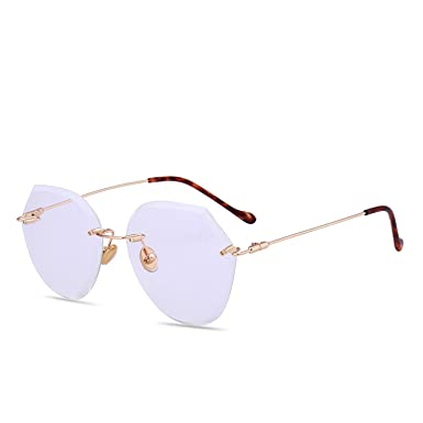 Amazon.com: Gafas de sol sin marco con corte de cristal ...