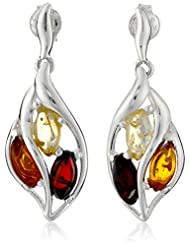 Sterling Silver Multi-Color Amber Dangle Earrings