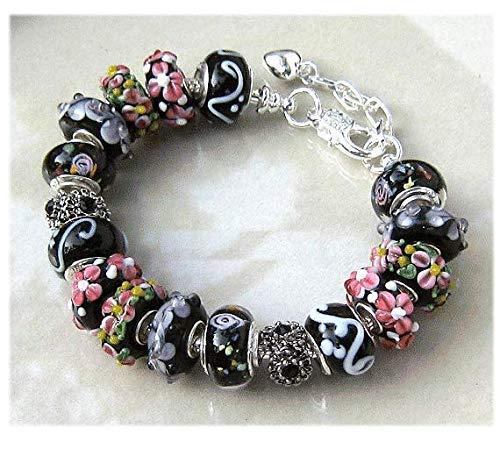 Murano Chain Bracelet - Black White Pink Murano Glass Bracelet Silver Snake Chain European Charm Bracelet One Of Kind Gift For Women