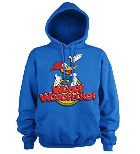 Officially Licensed Woody Woodpecker Classic Logo Hoodie (Blue), X-Large