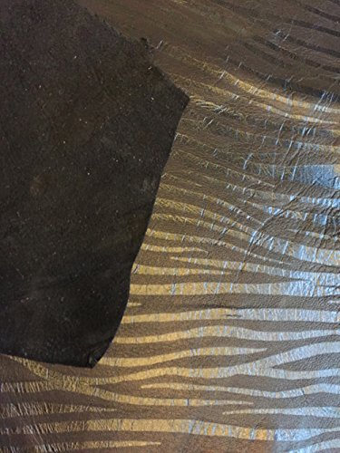 Black Suede Leather - Tiger Animal Print - Spanish Full Skins - 5 sq ft - 2 oz. avg Thickness - Real Genuine Lambskin Pelt - Soft Home Decór Fabric - Thin Craft DIY Material - Wholesale Supply