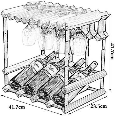 Estantería de vino Botella Estante for vino Barril de pie Pino 4 Botellas Colgantes Copas de vino Estante Madera Metal Estante de madera Estante for botellas Mostrador de barra Estante de barra de cas