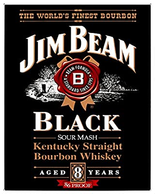Jim Beam Kentucky Straight Bourbon Whiskey Black Label Tin Sign