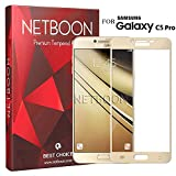 NETBOON Samsung Galaxy C5 Pro Tempered Glass 9H Hardness 2.5D Gold Curved Edge Scratch Resistant With Edge To Edge Protection Screen Protector Guard