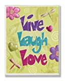 The Kids Room by Stupell Live, Laugh, Love with Green Swirly Background Rectangle Wall Plaque