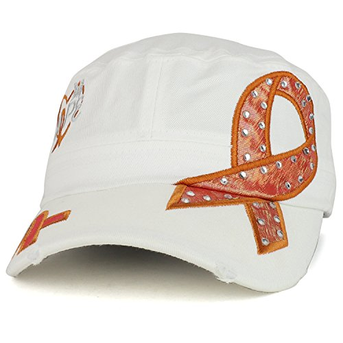 Trendy Apparel Shop Hope Leukemia Cancer Awareness Orange Ribbon Embroidered Flat Top Cap - White