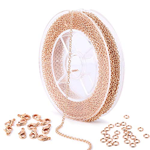 - 33 Feet Rose Gold Plated Brass Thin Dainty Cable O Chain Spool Bulk for Craft DIY Jewelry Making (Rose Gold Chain)