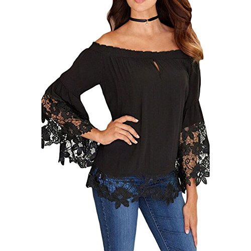 Buy bell sleeve black lace dress - 7