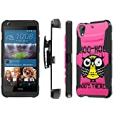 HTC Desire [626] Armor Case [SlickCandy] [Black/Black] Heavy Duty Defender [Holster] [Kick Stand] Phone Case - [Hoo is There Owl] for HTC Desire [626 / 626S]