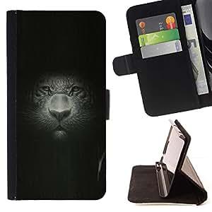 Momo Phone Case / Flip Funda de Cuero Case Cover - Gran Retrato del gato Retrato Pintura Dibujo Leopard - Huawei Ascend P8 Lite (Not for Normal P8)