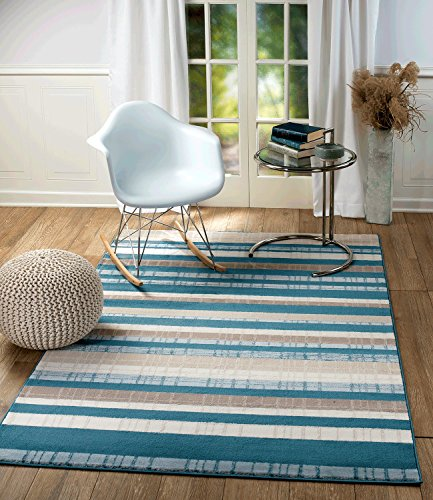 Summit ZM-7U4H-UXAR 103 New Blue Stripe Area Rug Modern Abstract Many Sizes Available , 4'. 10'' x 7'. 2''