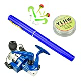Cheap Multi Outools 38 Inches Pocket Pen Rod Set,Mini Fishing Rod and Reel Combos,Portable Travel Fishing Gear in A Box,Good Gift for Birthday,Festival,Christmas (Blue)