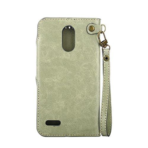 MEIRISHUN Leather Wallet Case Cover Carcasa Funda con Ranura de Tarjeta Cierre Magnético y función de soporte para LG LS777 - Azul Verde claro