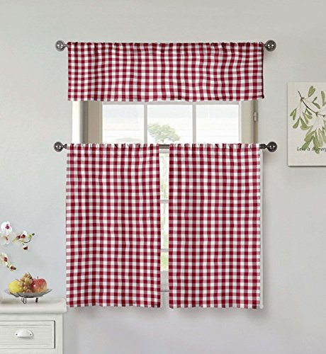 Home Maison Umid Plaid Gingham Checkered Kitchen Tier & Valance Set | Small Window Curtain for Cafe, Bath, Laundry, Bedroom, Garnet