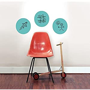 Morecome 3pc Round Wall Stickers 13x13 inch Peel & Stick Dots with Marker Stickers (Green)