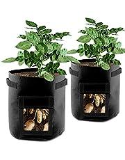 MINGPINHUIUS Grow Bags 7 Gallon Plant Potato Carrot Tomato Onion with Strap Handles Breathable Nonwoven