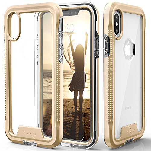 Zizo ION Series Compatible with iPhone Xs Max case Military Grade Drop Tested with Tempered Glass Screen Protector (Gold & Clear)