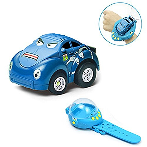 Wristbands Cars (Shopline Remote Control Car Toy, Gravity Sensor Mini Racer Wristband Concept Car Toy with USB Charge for Kids Children Hobbyist (Blue))