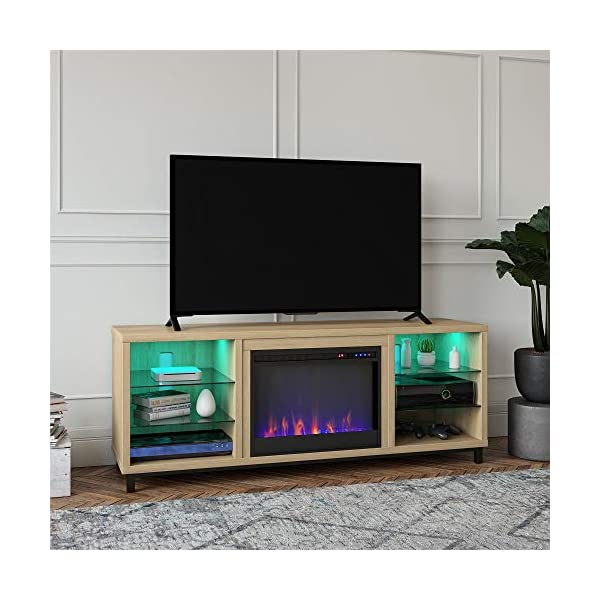 "Ameriwood Home Lumina Fireplace TV Stand for TVs up to 70"" (Blonde Oak)"