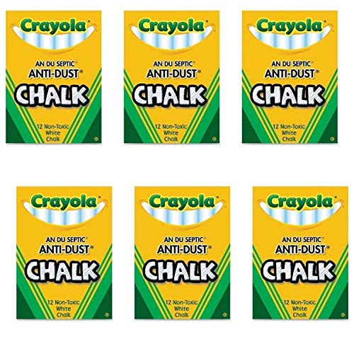 - Crayola Nontoxic Anti-Dust Chalk, White, 12 Sticks/Box (50-1402) (6 Pack)