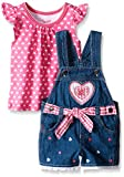 Nannette Little Girls' Toddler 2 Piece Heart Tee and Shortall Set, Pink, 2T