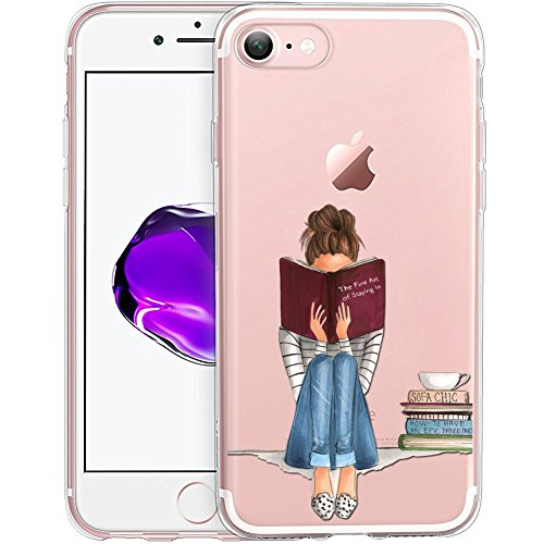 Girl Reading Book Drawing Clear Phone Case for iPhone 8 / iPhone 7 Customized Design by MERVELLE TPU Clear Shock-Proof Protective Case [Ultra Slim, Anti-Slippery] ()