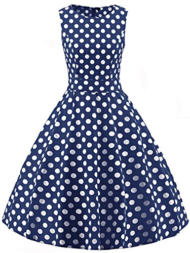 FAIRY COUPLE 50s Vintage Retro Floral Cocktail Swing Party Dress with Bow DRT017(3XL, Navy Blue White Dots) (Navy Retro Dress)