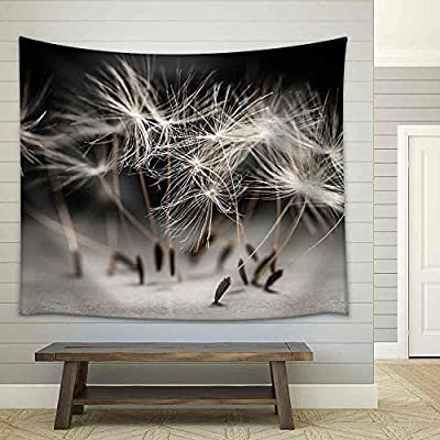 Handsome Handicraft, Crafted to Perfection, Macro Closeup of Dandelion Seeds Standing Up on Gray and Black Background Fabric Wall